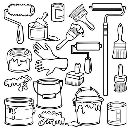Cartoon doodles home repair objects set