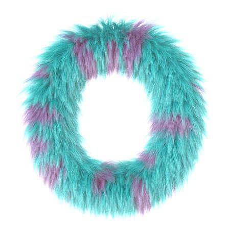 3d cartoon fun animal fur letter O