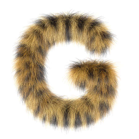 3d Leopard creative funny cute fur letter G