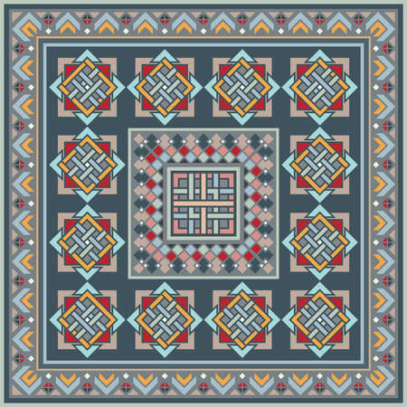 Colorful vector mosaic rug with abstract ethnic geometric ornaments.