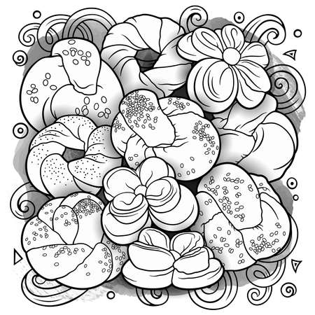 Buns and pastries hand drawn vector doodle colorful illustration Vecteurs