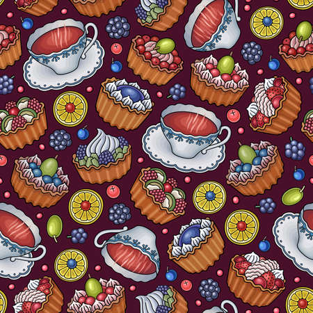 Funny tea, desserts and sweets with berries seamless pattern. Ilustração