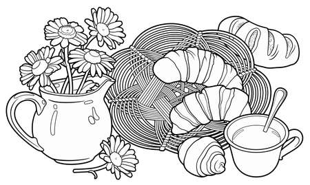 Buns and tea, wicker napkin and flowers in a jug hand drawn vector doodle illustration.