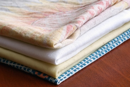 bedsheets:   Pile of the washed linen