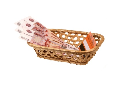 bast basket:   Plastic card and money in a wattled bast basket