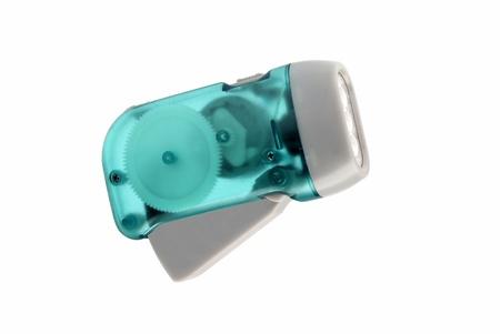 dynamo: Led flashlight with manual recharging  Stock Photo