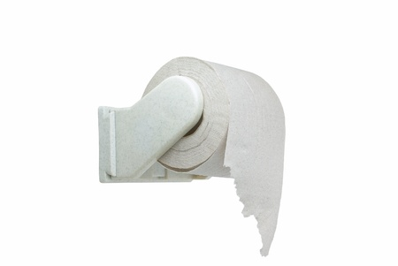 Roll of toilet paper on the bracket  photo