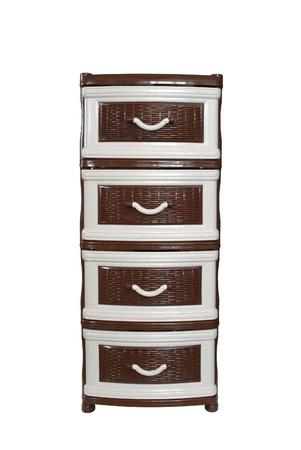 tallboy: Plastic dresser on white background
