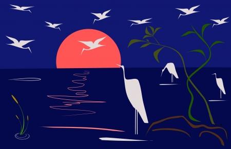 blue heron: Morning landscape Illustration