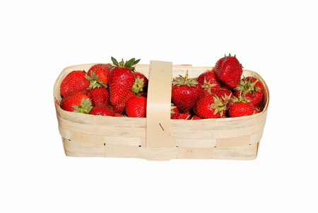 medium length: Strawberry berries in a bast basket  Stock Photo