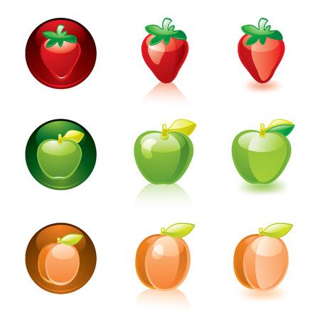 Strawberry Apple Apricot Vector