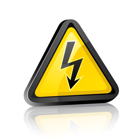 Three-dimensional Hazard warning sign with high voltage symbol on a white background with reflection Vector
