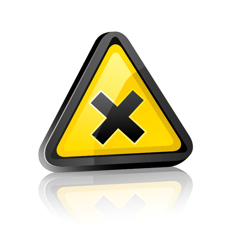 fatal: three-dimensional Hazard warning sign with irritant symbol on white background with reflection Illustration