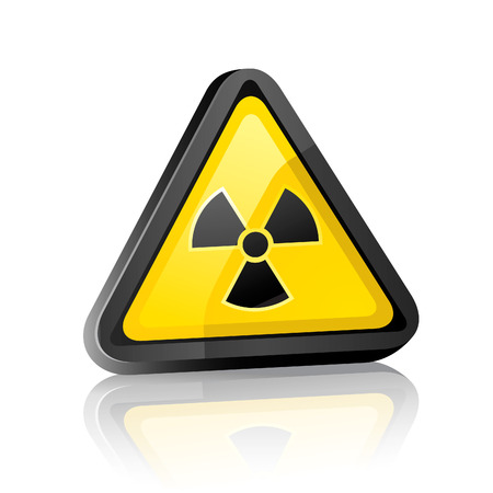 symbol vigilance: Three-dimensional Hazard warning sign with radiation symbol on white background with reflection Illustration