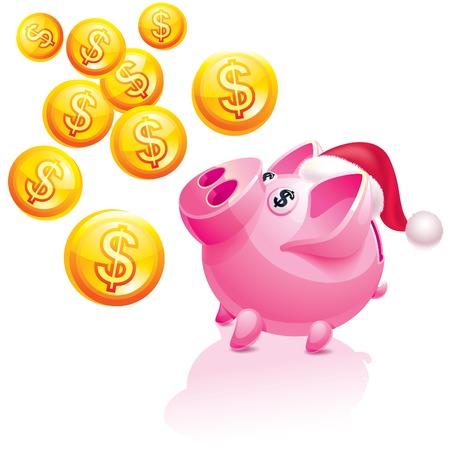 mumps: New Years piggy bank for money rain