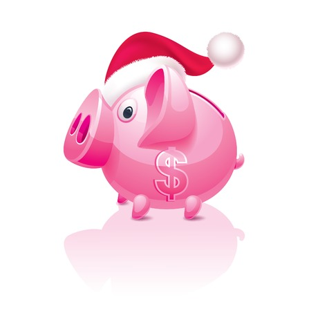 mumps: New Years Christmas piggy bank with a dollar sign