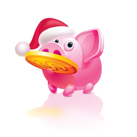 mumps: Christmas  piggy bank with a coin