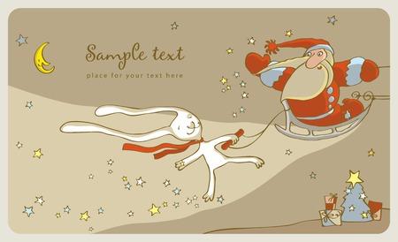 White Rabbit and Santa Claus in a sleigh Vector
