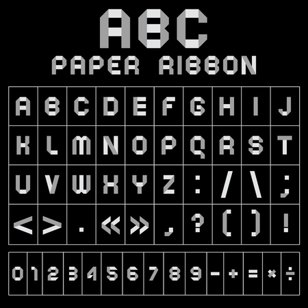 polyhedral: ABC font from paper tape