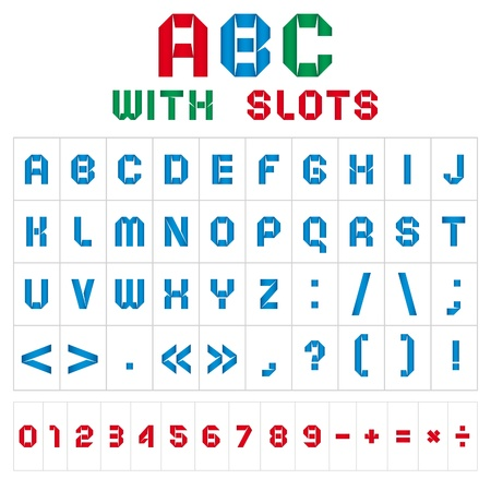 multifaceted: ABC font with slots, color on white background