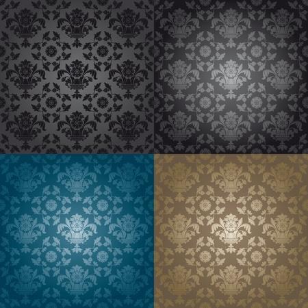 Seamless wallpaper pattern floral, black Фото со стока - 8922598