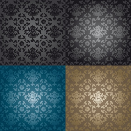Seamless wallpaper pattern floral, black Stock Vector - 8922598