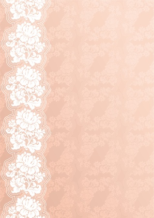 Flower background with lace, pink Stock Vector - 8978091