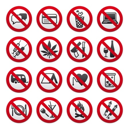 banned: Set of Prohibited Signs
