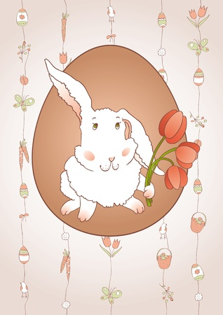 Rabbit with Tulips Vector
