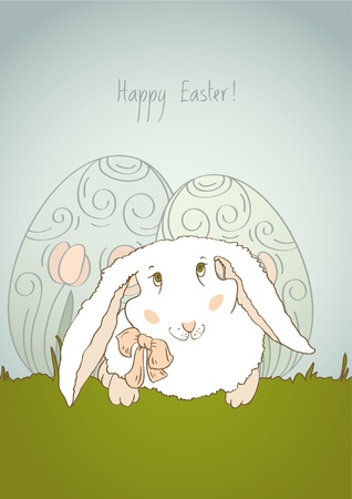 Happy Easter Bunny Retro Vector