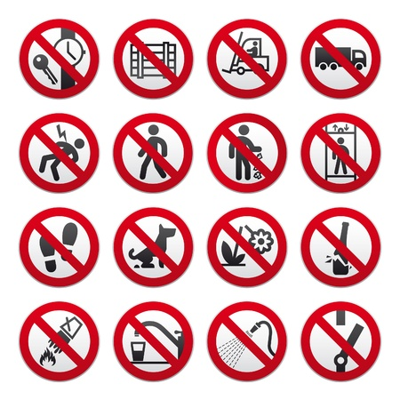 A set of signs prohibiting Stock Vector - 9071487