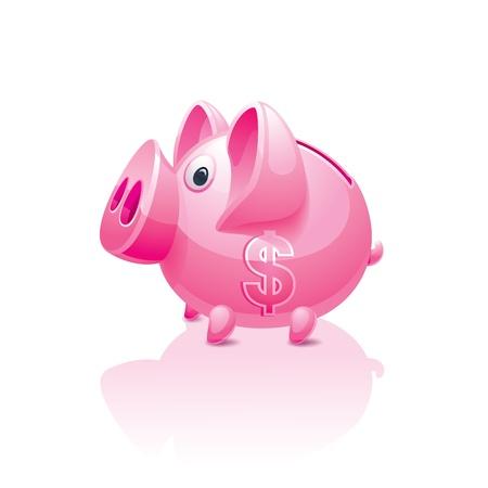 piggy bank with a dollar sign Vector