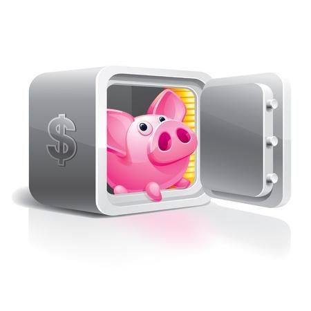 Piggy bank in a safe Stock Vector - 9071491