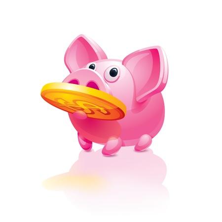 mumps: piggy bank with a coin
