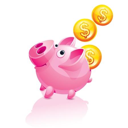 mumps: Hucha y ca�da de dinero Vectores
