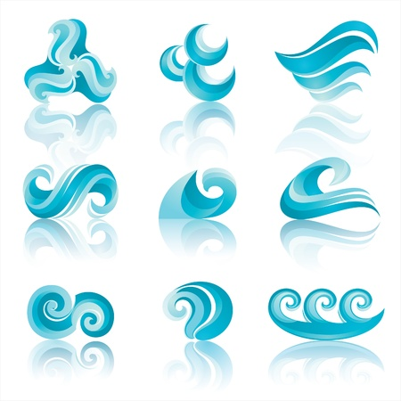Set of Turquoise Waters Icons with reflection Vector