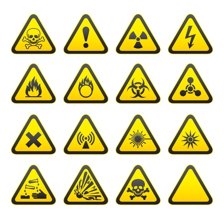explosive: Set of Triangular Warning Hazard Signs