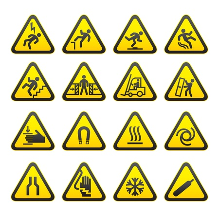 injury: Set Simple of Triangular Warning Hazard Signs Illustration