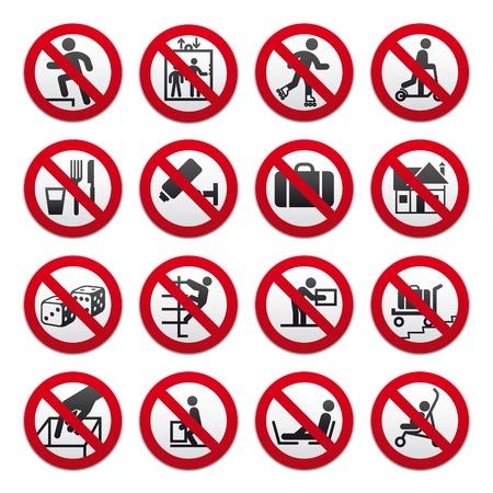 prohibido: Conjunto de signos prohibidos,