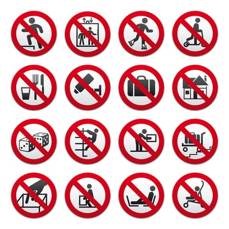 Prohibited signs, set Stock Vector - 9226019
