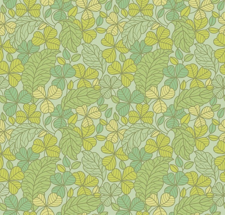 herb garden: green leaf background, seamless wallpaper Illustration