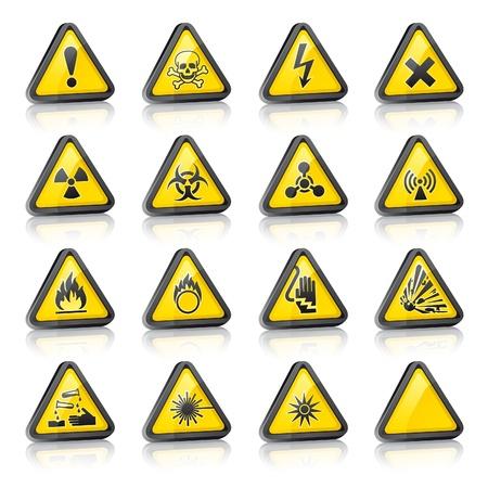 Set of three dimensional Warning Hazard Signs Stock Vector - 9259372