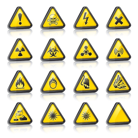 chemical weapons: Set of three dimensional Warning Hazard Signs Illustration