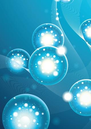 water molecule: Fondo abstracto con bolas en el espacio Vectores
