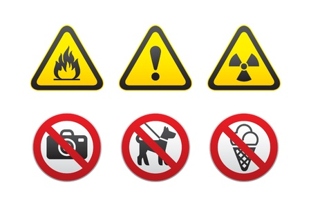 Warning Hazard and Prohibited Signs set vector Stock Vector - 9340211