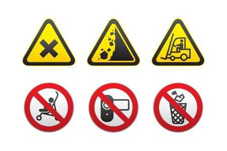 Warning Hazard and Prohibited Signs set Stock Vector - 9382866