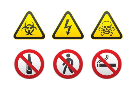 Warning Hazard and Prohibited Signs vector set Stock Vector - 9382867