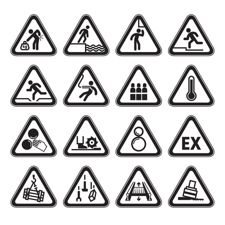Set of Triangular Warning Hazard Signs black Vector