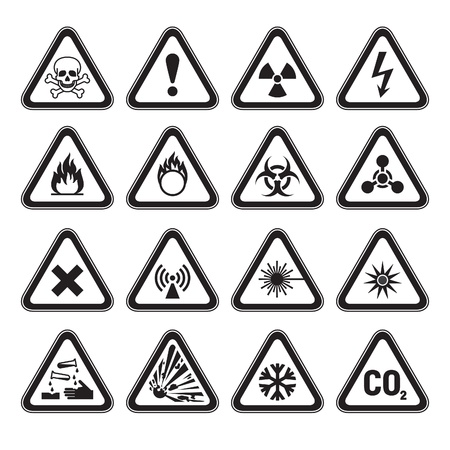 voltage danger icon: Set of Triangular Warning Hazard Signs black