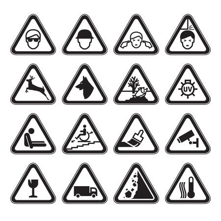 prohibido: Advertencia Seguridad signos establecer negro Vectores
